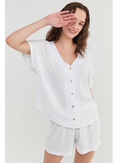 Penti Optik Beyaz Bridal Crinkle Gömlek Şort Takımı Beyaz
